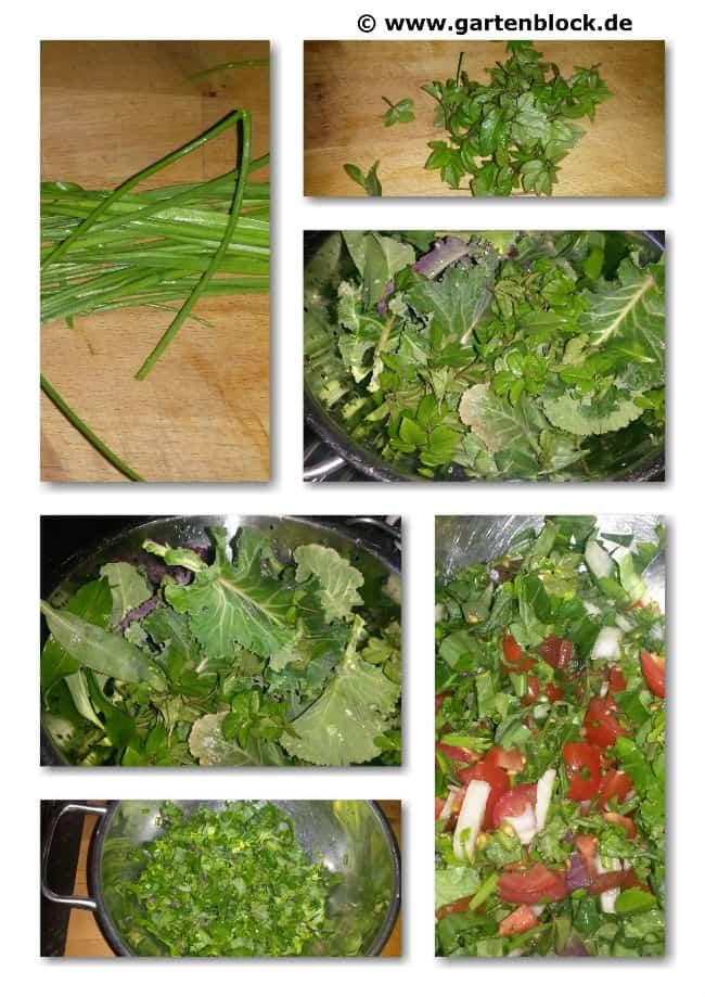 Garten-Kräutersalat im März